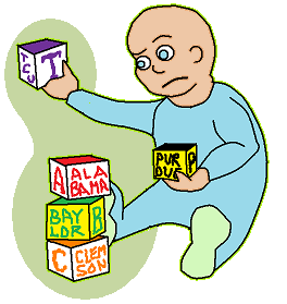 Baby placing blocks